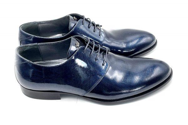 scarpa blu rettile verniciato