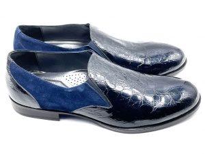 pantofola vernice e camoscio